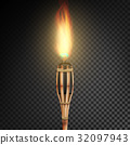 Burning Beach Bamboo Torch With Flame. Realistic 32097943
