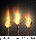 Torch With Flame. Burning In The Dark Transparent 32097944