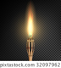 Burning Beach Bamboo Torch With Flame. Realistic 32097962