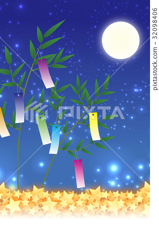 背景材料壁紙,七夕裝飾,節日,傳統,帶,竹葉,初夏,星塵,銀河系,銀河系, 32098406