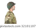 Side view of confident soldier standing 32101107