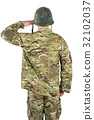 Rear view of soldier saluting 32102037
