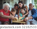 Multi-generation family having pizza in living room 32102533