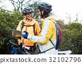 Biker couple interacting over map 32102796