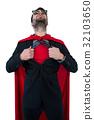 Businessman pretending to be a super hero 32103650