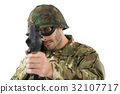Soldier aiming with a rifle 32107717
