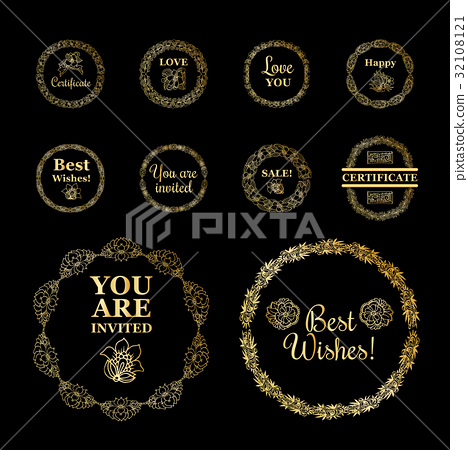 Round gold borders or frames set on the black 32108121