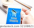 hand holding smartphone with Online shopping 32108621