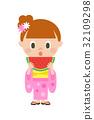 수박 소녀 유카타 32109298