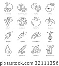 Digital black green vegetable icons set 32111356