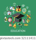 Digital vector green school icons 32111411