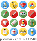 Digital vector red yellow blue medical icons 32111589