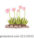Flowers growing in the flowerbed cartoon vector 32113033