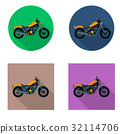 Vector motorcycles icon set in flat style. Vector 32114706