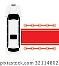white limousine parked near red carpet 32114802