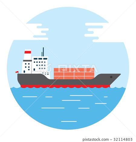 big dry cargo ship, Vector image 32114803