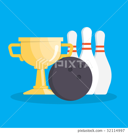 Vector set of bowling icons 32114997