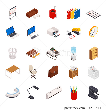 Isometric set office elements 32115119