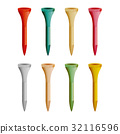 Golf Tees Vector. Realistic Illustration Of 32116596