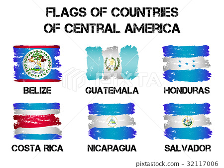 Flags Of Central America Countries Stock Illustration 32117006 Pixta