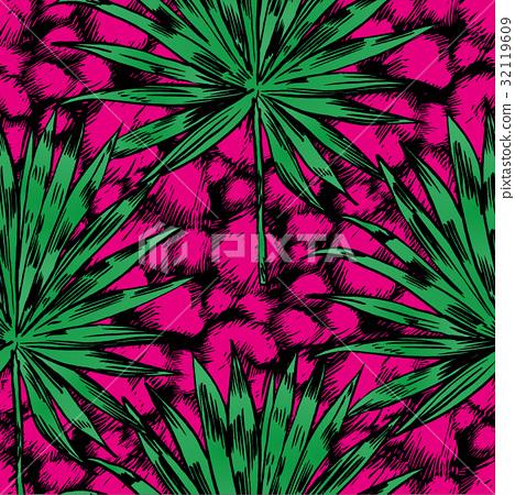 Tropical flowers, palm leaves, jungle , Beautiful 32119609