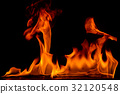 Beautiful fire flames on black background. 32120548