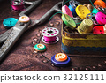 Retro buttons and threads 32125111
