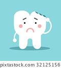 Unhappy cute cartoon tooth character with with 32125156