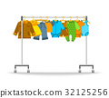 Baby clothes on hanger rack flat illustration 32125256