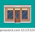 Generic shop exterior. Wooden and bricks material. 32125320
