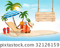 Tropical island with palms, a beach chair  32126159