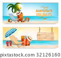 Tropical island with palms, a beach chair  32126160