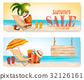 Two Summer Sale Banners With Beach Chair 32126161