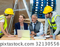 Warehouse managers interacting with workers 32130556
