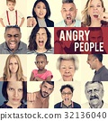 Set of Diversity People Angry Face Expression Emotion Studio Col 32136040