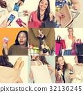 Set of Diverse Women Enjoying Sale Buy Shopping Studio Collage 32136245