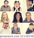 Set of Diversity People Face Expression Emotion Studio Collage 32136248