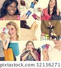 Set of Diverse Women Enjoying Sale Buy Shopping Studio Collage 32136271