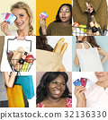 Set of Diverse Women Enjoying Sale Buy Shopping Studio Collage 32136330