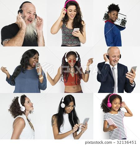 Set of Diversity People Listening Music Studio Collage 32136451