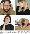 Set of Diversity People Sad Face Expression Emotion Studio Collage 32136465