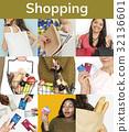 Set of Diverse Women Enjoying Sale Buy Shopping Studio Collage 32136601