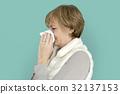 Woman Sad Crying Depress Sneeze Studio Portrait 32137153