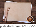 blank paper with pencil and  coffee on wooden 32137555