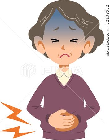 疾病女性腹痛上半身老人 32138532