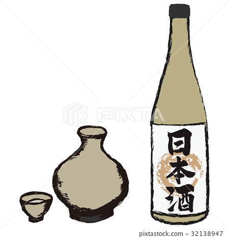 japanese sake, alcohol, vector 32138947