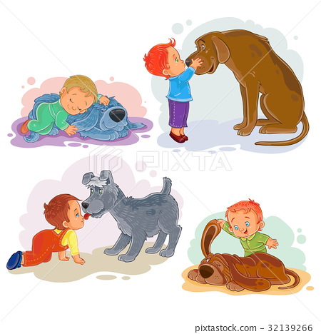 Clip art illustrations of little boys and their 32139266