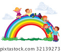 Carefree young children slide down the rainbow 32139273