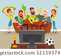 Cartoon family watching a football match on TV 32139374