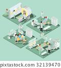 Set of 3D flat isometric illustrations of medical 32139470